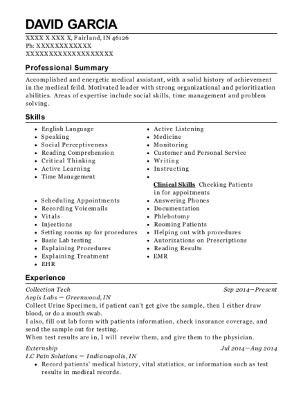 Collection Tech resume format Indiana