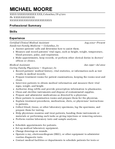 Certified Clinical Medical Assistant resume sample Indiana