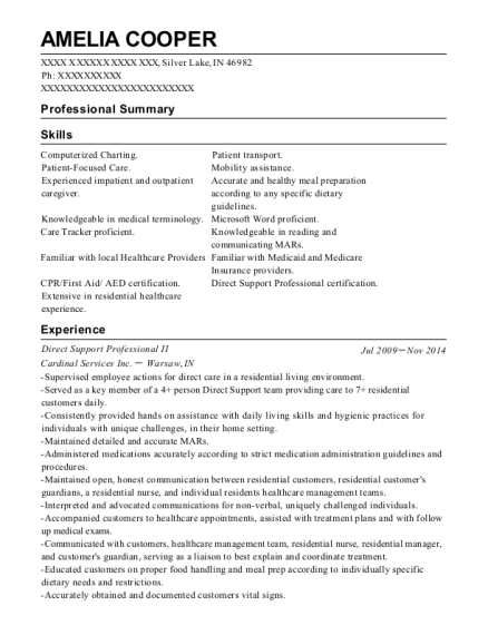 Direct Support Professional II resume sample Indiana