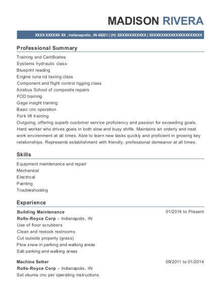 Building Maintenance resume template Indiana