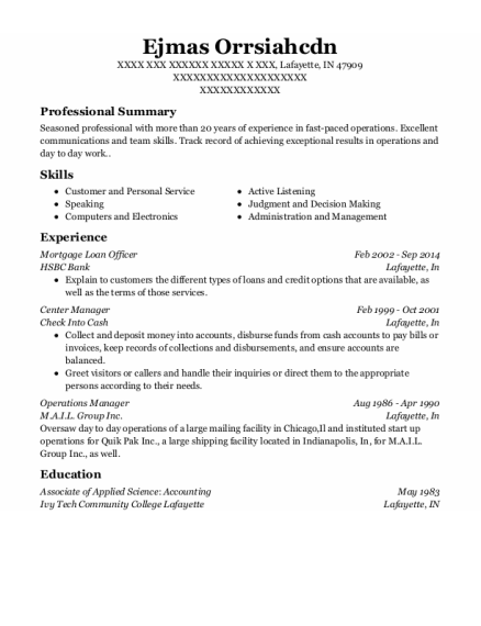 Mortgage Loan Officer resume example Indiana