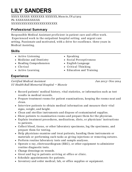 Certified Medical Assistant resume template Indiana