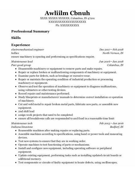 Maintenance Lead resume template Indiana