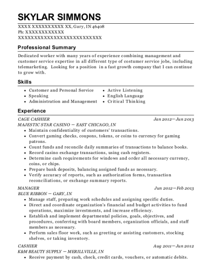 CAGE CASHIER resume format Indiana