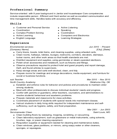 Enviromental services resume template Indiana