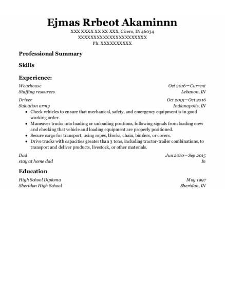 Wearhouse resume format Indiana