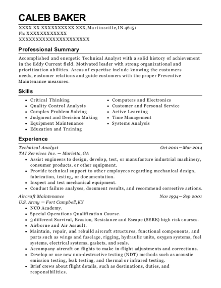 Technical Analyst resume sample Indiana