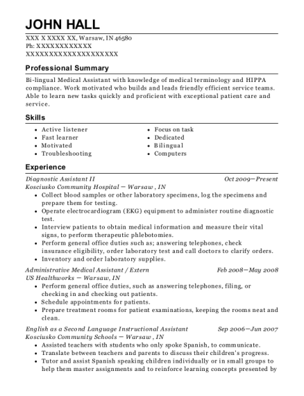 Diagnostic Assistant II resume example Indiana
