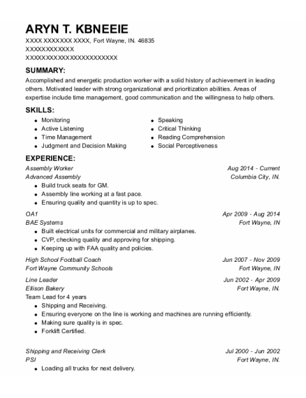 Assembly Worker resume format Indiana