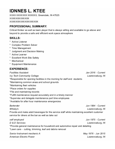 Facilities Assistant resume format Indiana