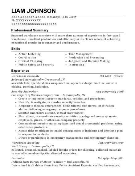 Warehouse Associate resume template Indiana