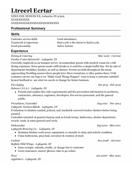 Fire Safety Director resume format Indiana