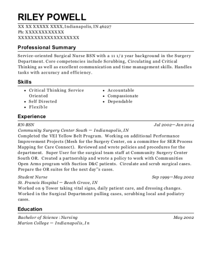 RN BSN resume example Indiana
