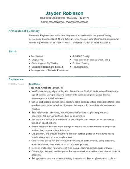Tool Maker resume template Indiana