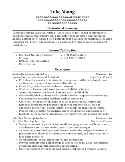 Special Needs Instructional Assistant resume sample Indiana