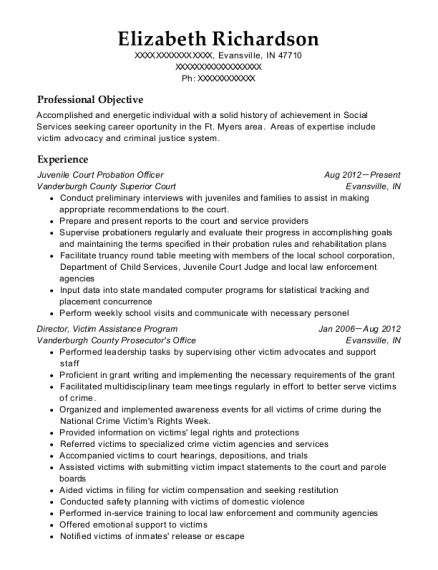 Juvenile Court Probation Officer resume format Indiana