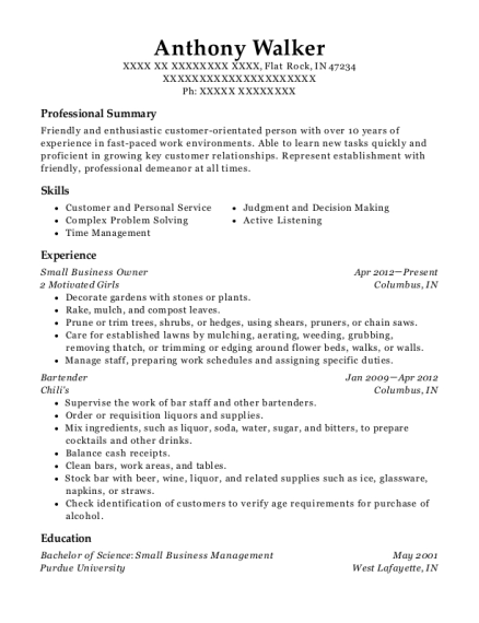 Small Business Owner resume template Indiana