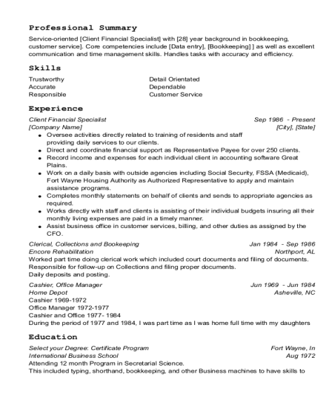 Client Financial Specialist resume example Indiana