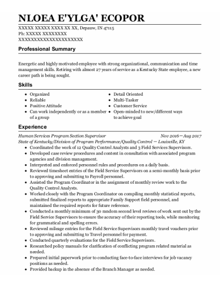 Quality Control Analyst resume template Indiana