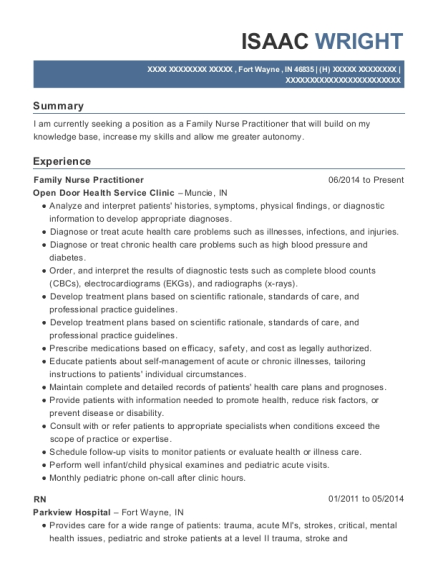 Family Nurse Practitioner resume template Indiana