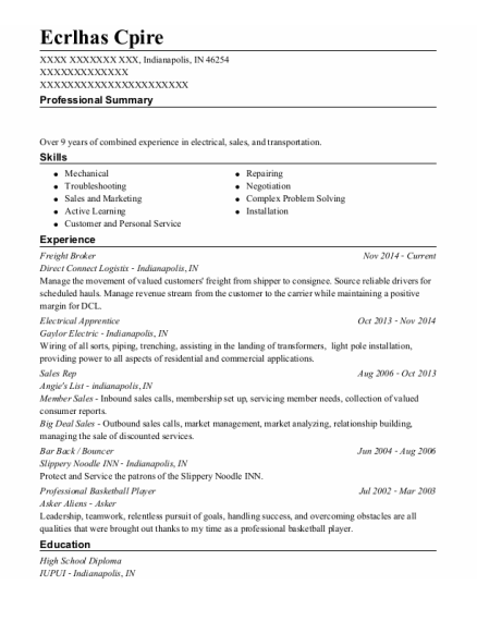 Freight Broker resume template Indiana