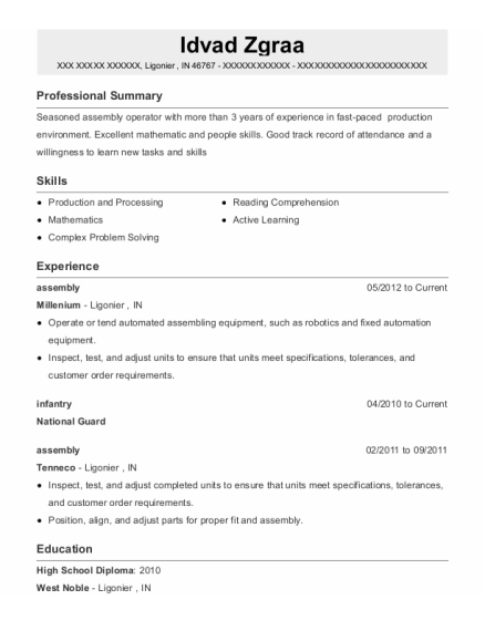 assembly resume template Indiana