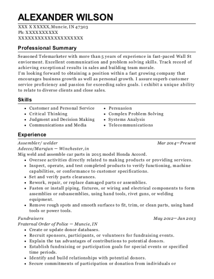 Assembler resume sample Indiana
