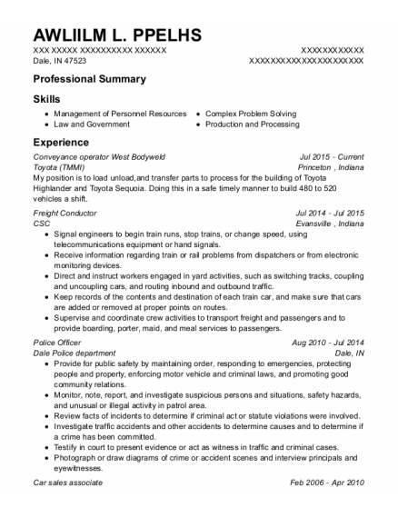 Freight Conductor resume example Indiana