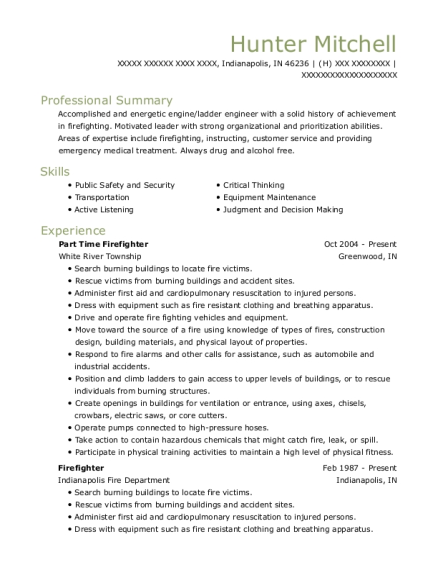 Part Time Firefighter resume format Indiana