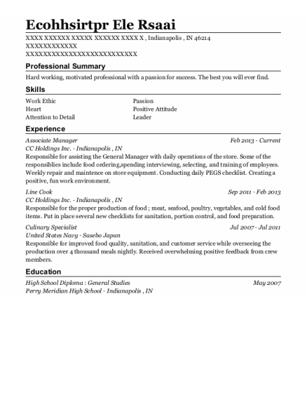 Associate Manager resume format Indiana