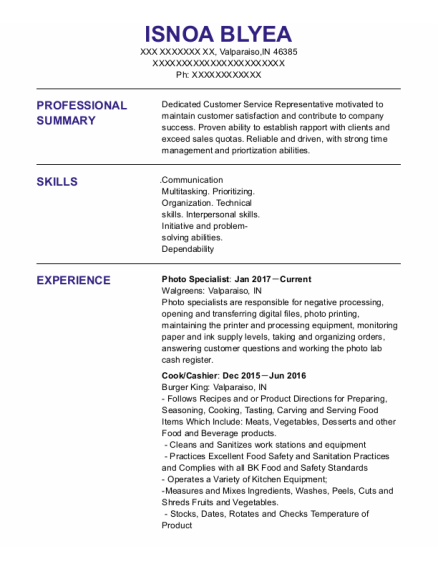 Photo Specialist resume template Indiana