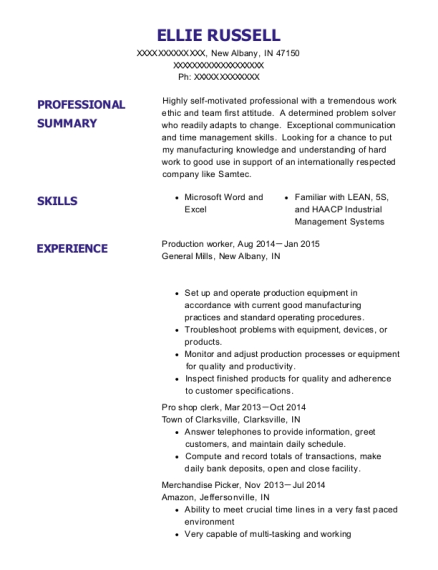 Production Worker resume example Indiana