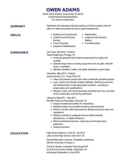 Line Cook resume template Indiana