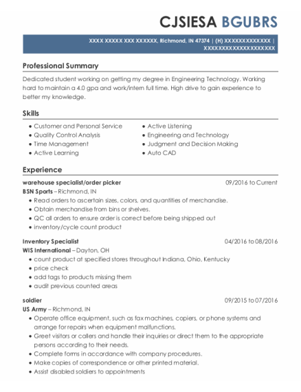 Warehouse Specialist resume template Indiana