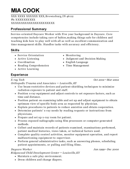 X ray Tech resume template Indiana