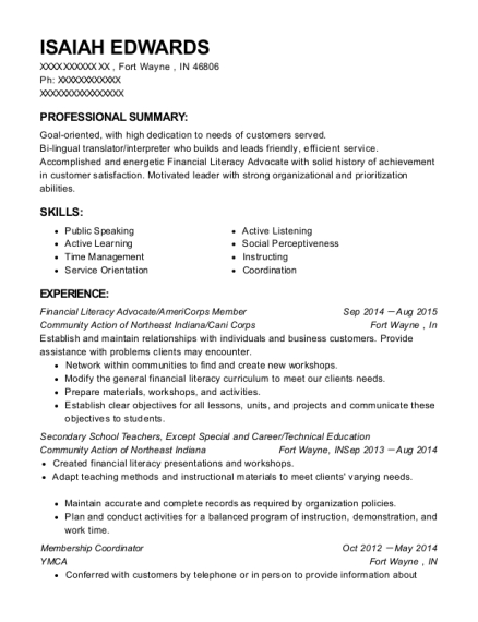 Financial Literacy Advocate resume example Indiana