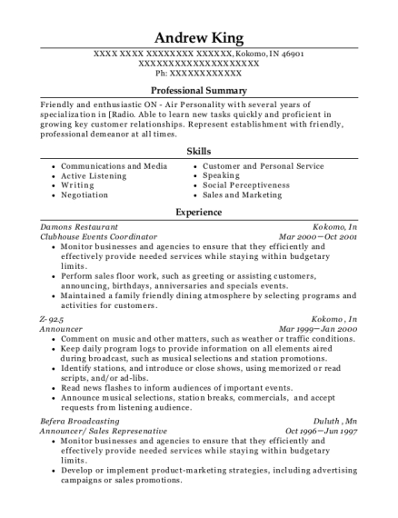 Clubhouse Events Coordinator resume template Indiana