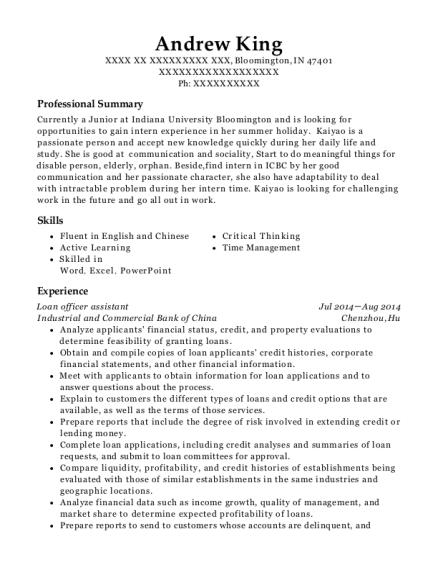 Loan officer assistant resume example Indiana