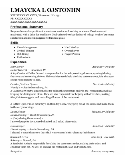 Key Carrier resume template Indiana