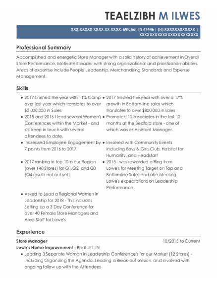 Store Manager resume sample Indiana