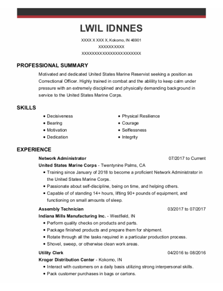 Network Administrator resume template Indiana