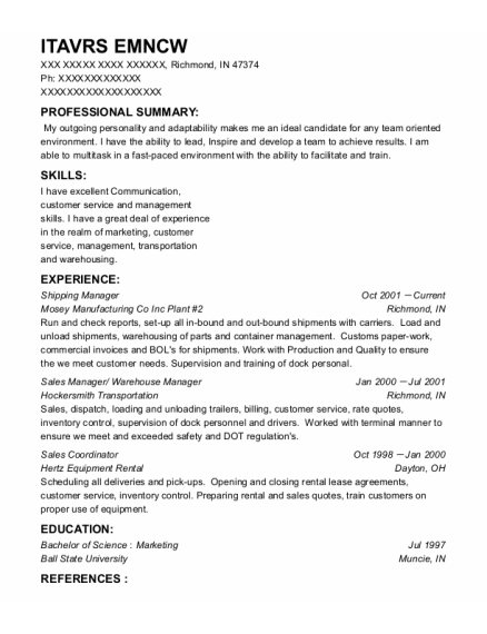 Shipping Manager resume template Indiana