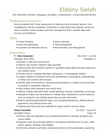 Camp Counselor resume template Indiana