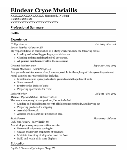 Utility Worker resume example Indiana
