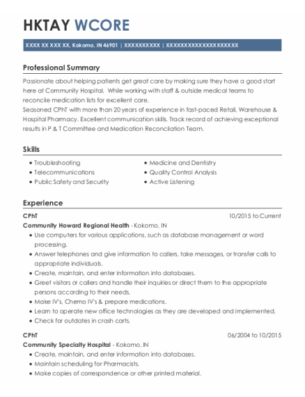 Cpht resume template Indiana