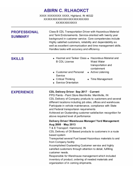 Cdl Delivery Driver resume format Indiana