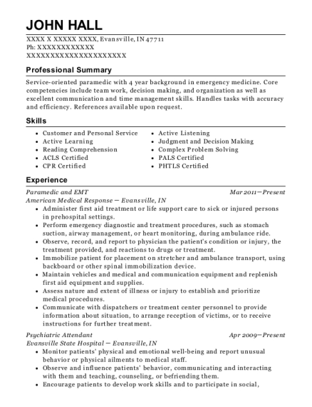 Paramedic and EMT resume example Indiana
