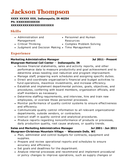 Marketing Administrative Manager resume template Indiana