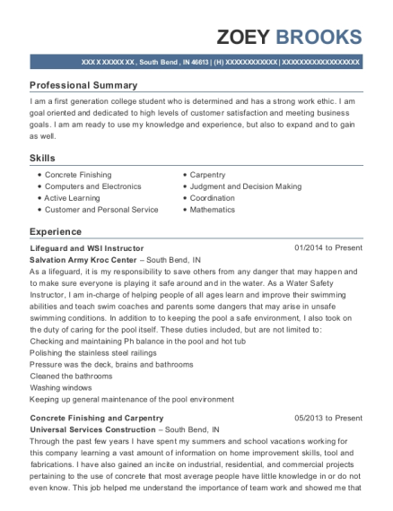 Lifeguard and WSI Instructor resume template Indiana