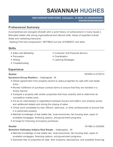 Realtor resume example Indiana